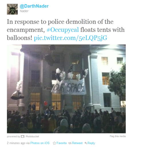 #occupycal Don't piss off college students. They're very good at figuring out hilarious protests.~fearandwar