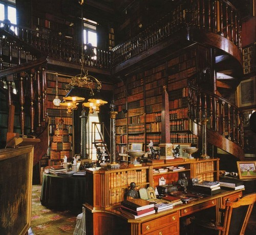 Á la Bibliothéque du Château de Groussay. Built in 1815, The private library of the Château de Groussay is located in Montfort-l'Amaury, France. The Château was by the duchesse de Charest, a daughter of Louise Elisabeth de Croÿ-Havré, marquise de Tourzel, the governess of the royal enfants de France of Louis XVI and Marie Antoinette.