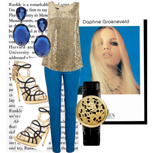 gold diamond jewelry plastic jewelry sequin tops blue skinny pants strappy gladiator sandals fashion style Isabella Oliver River Island Jimmy Choo ASOS polyvore