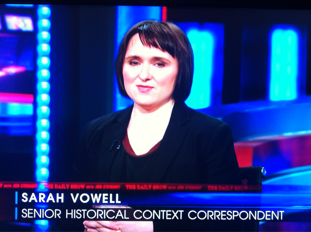 imwithkanye:  When Sarah Vowell is on The Daily Show, you know all is right with the world.