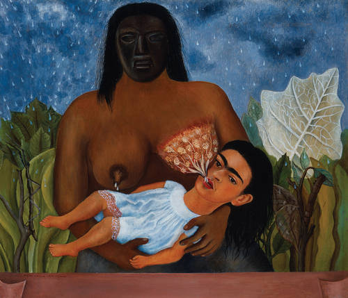 Frida Kahlo, My Nurse and I, 1937 Frida was not nursed by her own mother, she was nursed by an Indian woman whom her family had hired for that express purpose. There is no attachment between the two, and Frida is reliving her childhood feelings of isolation from her family as an adult here. Seriously, no jokes to make here, this is the most haunting painting she ever made, in my opinion.