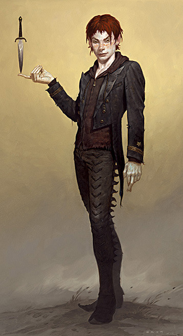 rebeccacablah:  meloramylin:  Peter Pan from Brom's 'The Child Thief'.  One day I will be as good as Brom, one day.  That's an interesting Peter Pan -Ell
