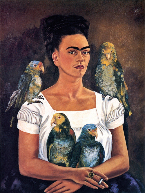 Frida Kahlo, Me and My Parrots, 1941 In the Hindu tradition of symbolism, the four parrots symbolize the love god Kama, or erotic love. So yeah, I mean, she's pretty sexy.
