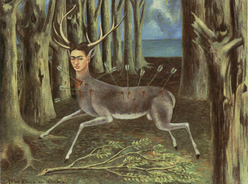 "Frida Kahlo, The Wounded Deer, 1946 This incredibly surreal painting references both her personal injuries and her inner turmoil and suffering. Though she is calm, gazing out at the viewer, her deer body also has been shot in the leg.  People often label Frida as a ""surrealist,"" and with a painting like this, it's pretty easy to see why. She, however, objected to this, stating that she ""painted her own reality."" Yeah, girl, you go."