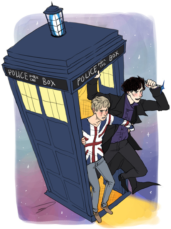 russian-tupperware:  reapersun:  INCOMING WHOLOCK pennandemrys: Could  you draw Sherlock and John in the TARDIS?     stockholmsyyndrome: john and sherlock in the TARDIS!     hello-random-person: Could  you please draw Sherlock and John inside of the TARDIS?     missmeggsie: how about John and  Sherlock taking a trip in the TARDIS? o: I can kind of imagine Sherlock  as a Timelord, he alienates himself from human society enough xD  Yes. Good. Forever Reblog.
