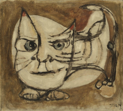 theformofbeauty:  Asger Jorn Untitled (the watch cat). 1949oil on canvas28 x 32 cm