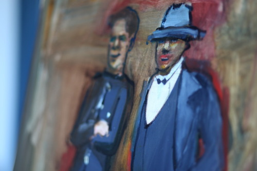 The good guys  - detail  oil on canvas. 2 figures that were in the background of one of the mugshot photos.