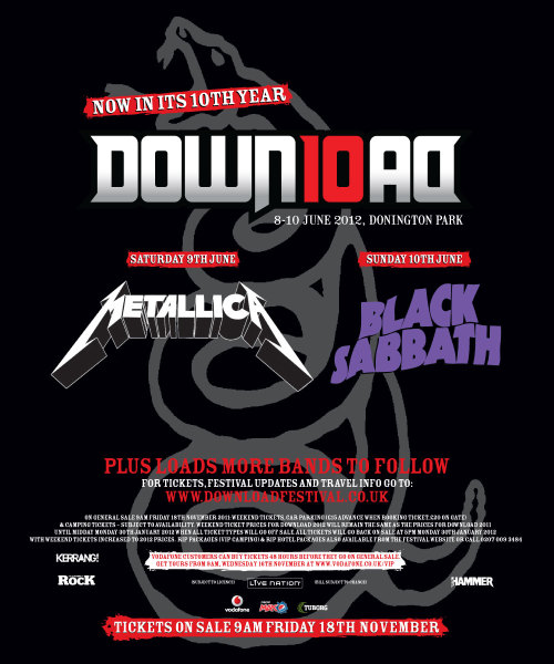 This morning I bought my 5-day camping ticket for Download. I didn't go last year due to a poor lineup, but had a fantastic time in 2010 (my first festival). With The Prodigy now also confirmed as the headliner for Friday, this was just too good to pass up. I frankly can't wait, and the thought of me attending Download again will keep me going through these cold winter months. Roll on June.