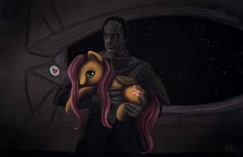northstarfan:  Dukat Has A Fluttershy by Crappy Unicorn  So here's Dukat holding Fluttershy. I bet you he brushes her hair.ONLY THE MOST EVIL CARDASSIANS LOVE PONIES.