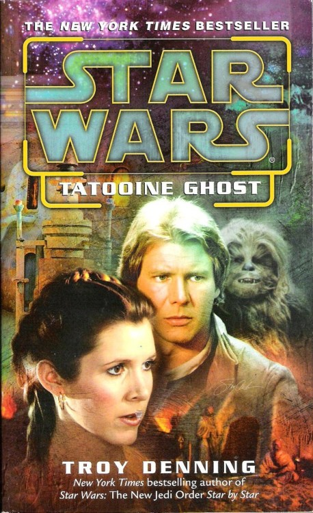 "stolendatatapes:  Tatooine Ghost by Troy Denning (2003, Del Rey) In The Truce at Bakura (which I reviewed way back in June), Anakin Skywalker makes a postmortem appearance to Leia and asks her forgiveness for all of the horrible atrocities he committed as Darth Vader. Unlike the saintly Luke Skywalker of Return of the Jedi, a furious Leia refuses to grant that forgiveness. She cannot separate the contrite Anakin from the evil he has since renounced. Anakin's spirit departs, hoping that one day Leia can let go of her hatred and resentment. It's easily the most powerful passage in the novel.  Tatooine Ghost, published a full decade later, directly addresses Leia's daddy issues and attempts to bridge the ""classic"" expanded universe with the events of the prequels, two of which had been released by the time of this book's publication. A mission to recover an Alderaanian moss painting that also happens to contain the code key to a secret New Republic communication network takes Leia, Han, Chewie, and Threepio to Tatooine, where the painting is being auctioned off. When Imperials show up at the auction and the proverbial shit hits the fan, none other than a grown-up Kitster yanks the painting right off the auction block and makes off with it.  You remember Kitster, right? He was one of Anakin's friends from The Phantom Menace. Also appearing is the stocky Rodian known as Wald. Both appear to have grown up to be less annoying in this book than they were in the movie.    The action of the book has our heroes racing against the Imperials to track down Kitster and the painting, but the novel's most important element is not tied directly to that plot. While briefly staying at the old Lars homestead (now owned by the Darklighters), Leia is given an old video diary belonging to Shmi Skywalker that she had intended to give to her son, but never got the chance. Through Shmi's entries, Leia begins to understand Anakin Skywalker's humanity, and while there is no official pronouncement of forgiveness, Leia is clearly letting go of her grudge by the end of this book.  Before I say anything else about Tatooine Ghost, I have to get something off my chest that's been bothering me about it. In the first few chapters, when Leia and Han are undercover at the auction, it is heavily implied that the fact that Anakin Skywalker and Darth Vader are one in the same is common knowledge. The big question (which a little internet research showed me I'm far from alone in asking) is: When the hell did this happen? Certainly, there is no way that Vader's identity was widely known during the original trilogy, because—unless ""Skywalker"" is the Star Wars universe equivalent to ""Smith,"" ""Jones,"" or ""Rodriguez""—the possibility of Luke and Vader being related would have come up at some point before the events of The Empire Strikes Back.  If we assume, then, that this knowledge came out sometime after the death of the Emperor, any contradiction with the films is eliminated, but if this was publicly revealed by either Luke, Leia, the New Republic media, or some combination of those three, that's one hell of a thing to not have a book about. Wouldn't that have some impact on Luke and Leia's image as heroes of the Rebellion? Something that, I don't know, should maybe be addressed somehow? Ugh.    This irritating continuity conundrum notwithstanding (and it really is only an obsessive fanboy's complaint [I suppose]), Tatooine Ghost is actually quite good. This comes as a relief for me, since Troy Denning has a number of Star Wars novels under his belt that rivals Timothy Zahn. The most notable thing here is that Denning really knows how to write Han and Leia. Their marital arguments over whether or not to have children ring true to character dynamics present in the movies, without merely aping scenes from Empire. Denning's ability to write these characters shines the brightest in ""Corphelion Interlude,"" a sweet, romantic five-page short story about the Solos' honeymoon that serves as a prologue of sorts for this novel. The driving force of the book, Leia's struggle to cope with her family history, is emotionally effective, and many passages are tinged with a bittersweet, sepia-toned nostalgia that really appealed to me. Genuinely touching moments abound, including the book's last few paragraphs.   Also included here is A Forest Apart, a short story/novella previously published in e-book form, also by Troy Denning.    This story features Chewbacca as its main character, along with his wife and son, who you may remember from that timeless classic, The Star Wars Holiday Special. When some Imperial agents 'jack an important datapad from Han and Leia's apartment, Chewie's son brashly takes off after the thief, triggering a chase through several levels of Coruscant's endless urban sprawl.  It's cool to see Chewbacca at the forefront of the action, but this one didn't do much for me. Denning isn't bad at working with these characters, but the by-the-numbers plot simply did not succeed in holding my interest. As has been my experience with most of these e-book publications so far, there's nothing terrible about it, but there's nothing terribly memorable, either."