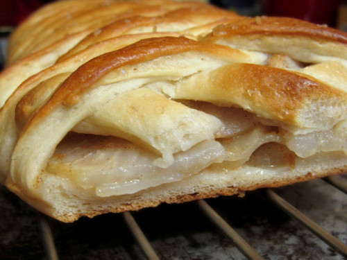 "A pear-filled ""Danish pastry-brioche-strudel hybrid"" from Bread Without Butter! I just found this fabulous blog dedicated to vegan bread via Finding Vegan (of course). The recipe for the brioche came from Have Cake Will Travel. I totally love brioche like so hard. But I haven't had it since going vegan! Because brioche is generally butter-rific. I have got to try this recipe though, I would be so happy to wrap my life in brioche! Brioche with raspberry jam! Huzzah!"