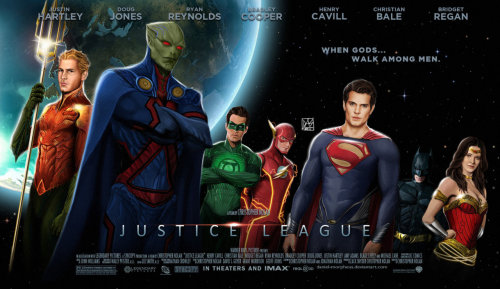 This is pretty cool but I don't like how Martian Manhunter is in the foreground ahead of Superman and how Batman is just shoved in the back. I will say this though, as much as people hated on GL's costume, it totally fits in with the others.
