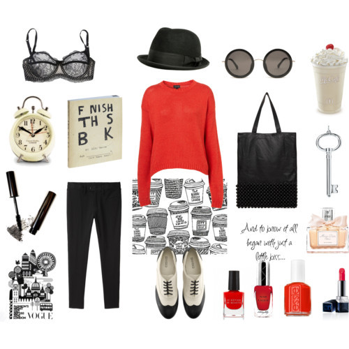 red sweater by monmaransi featuring brogue shoes