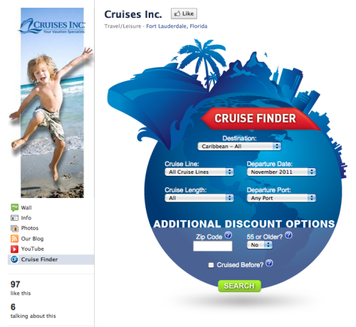 Check out our new Cruises Inc. Cruise finder on our Facebook page!