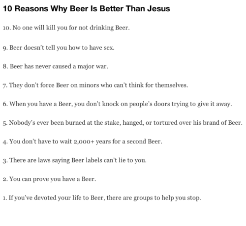 10 Reasons why Beer is better than Jesus
