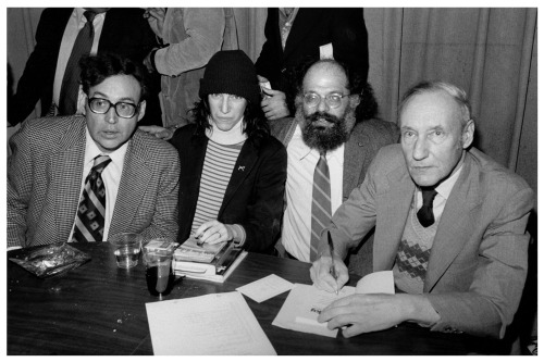 writersatwork:  Carl Solomon and Patti Smith Allen Ginsberg and William S Burroughs, sort of working.