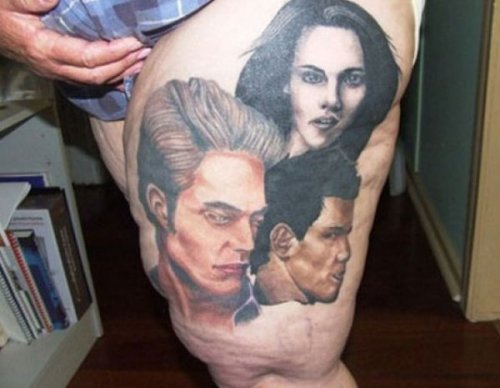 Disgusting Twilight Tattoo On Thigh   OK, OK I'll watch the movies. Just, please, don't make me look at this anymore.
