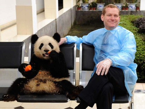 abriefhistoryofliberty:  Jeremy Browne and a panda eating a carrot
