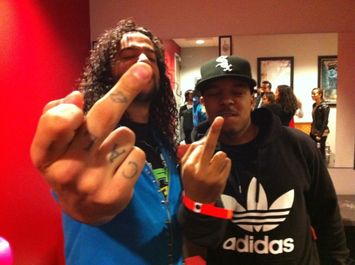 Me and my bro @SkyNuts (of LMFAO) backstage at The Fillmore flippin the bird. Word.