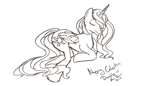 A quick little doodle of Princess Celestia napping.  Took about 20 min or so~