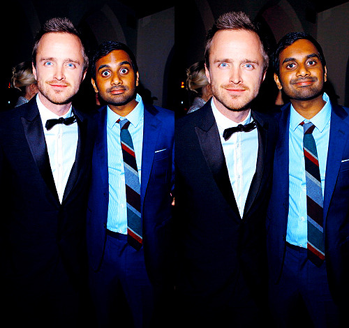 "annperkins:  Aaron Paul & Aziz Ansari @ GQ's 2011 ""Men of the Year"" Party (11/17/11)"