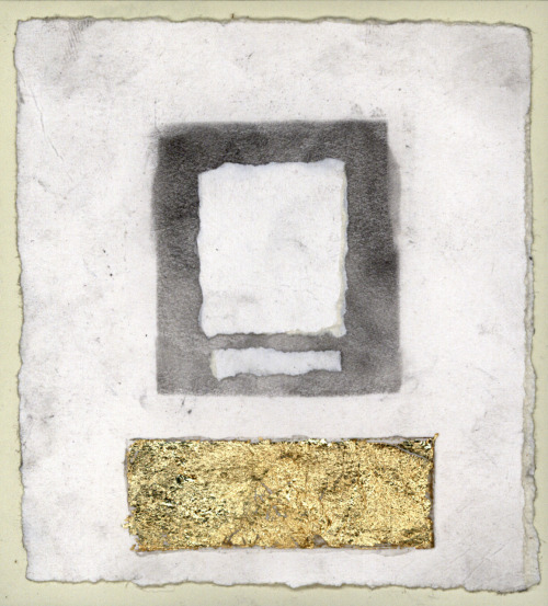 Untitled [The Wrocław Drawings] / charcoal, gold leaf on paper / 5 x 5 inches / 2011
