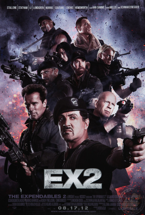 agentmlovestacos:  The Expendables 2 poster wins every ounce of Internet left. (via @alejandrobot & JoBlo)  They are all standing on the most ridiculous ladder.