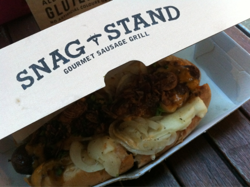 Snag Stand Gourmet Sausage Grill at Melbourne Central is the actually just a normal Hot Dog but they are worth to try. With only less than $10 you this can't be categorize as a snack cause they're actually quite big and filling your hunger.  They got some different sausages for you to choose and the Chorizo and the Wagyu Sausage are the two sausages that you have to try. But, the Chorizo isn't as spicy as their name.  The other thing that you have to try is their Chips. Surprisingly, they are real good.  So, Snag Stand Melbourne Central is now your new option for having a take away food. It can also be your new bestfriend at Library while studying or.. The new popcorn at Hoyts! ;