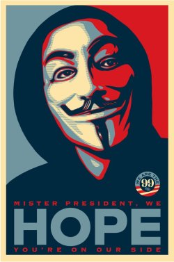 "Shepard Fairey: ""This poster represents my support for the Occupy movement, a grassroots movement spawned to stand up against corruption, imbalance of power, and failure of our democracy to represent and help average Americans. On the other hand, as flawed as the system is, I see Obama as a potential ally of the Occupy movement if the energy of the movement is perceived as constructive, not destructive. I still see Obama as the closest thing to ""a man on the inside"" that we have presently. Obviously, just voting is not enough. We need to use all of our tools to help us achieve our goals and ideals. However, I think idealism and realism need to exist hand in hand. Change is not about one election, one rally, one leader, it is about a constant dedication to progress and a constant push in the right direction. Let's be the people doing the right thing as outsiders and simultaneously push the insiders to do the right thing for the people. I'm still trying to work out copyright issues I may face with this image, but feel free to share it and stay tuned…"""
