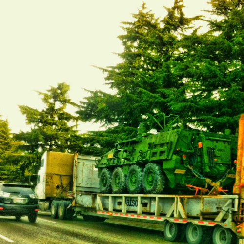 joelr1ver:  An IAV Stryker on its way to the Port of Seattle; I-5, Seattle WA  things I miss about Puget Sound