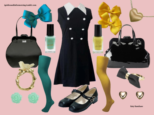Here's a style collage I created. Dress from Pop Boutique Tights from Pamela Mann All jewellery sourced from Accessorize Hairbows by JoyfulJessica on Etsy Nail paint by Barry M Handbags from Lulu Guinness Shoes from Bodyline