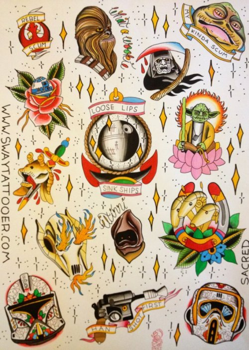 tattoome:  Traditional Style Star Wars #Tattoo flash Sway Tattooer UK - Star Wars sheet 2