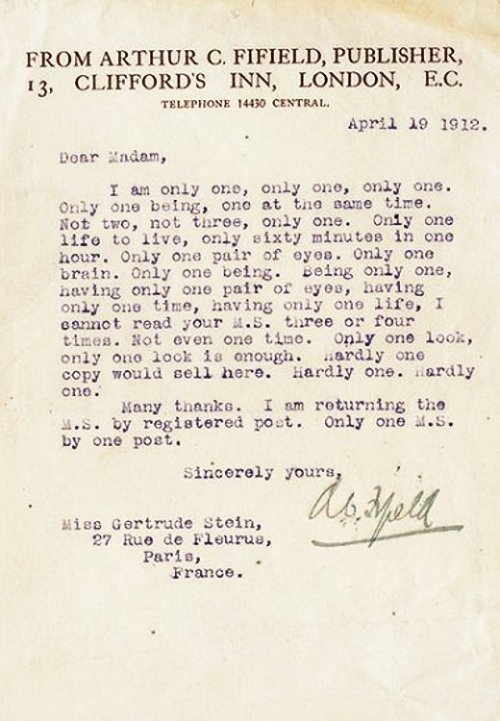 A publisher rejects Gertrude Stein's manuscript in 1912, by lampooning the shit out of it.