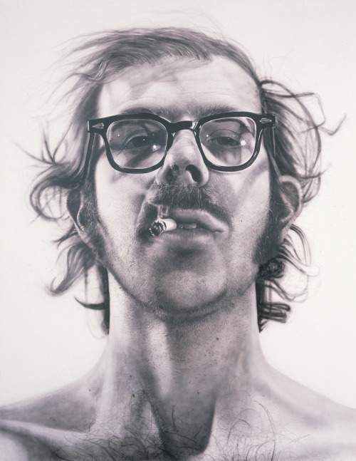 Chuck Close, Big Self-Portrait, 1968 AS PER REQUEST, I am doing Chuck Close today!! Yay! Close focuses exclusively on portraiture, in a style called photorealism, because it's so fucking lifelike. Seriously. Look at this. It looks like a photograph at first! To make this, he had to take like five billion pictures of himself, then drew a grid and transferred every single little detail onto the canvas. It took him four months.