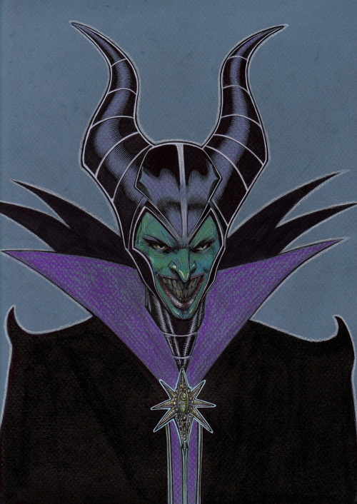 noahbodie:  A Malificent sketch that somehow morphed into the Joker, by Richard Friend