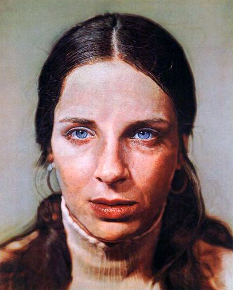 Chuck Close, Leslie, 1973 Another example of Close's amazing photorealism. This is not a photograph, people.