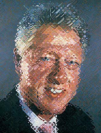 "Chuck Close, Bill Clinton, 2007 Close was partially paralyzed in 1988, and lost the use of his fingers. He had to paint with a brush strapped onto his wrist, and so this portrait took him four months. As with all his work, he never used a computer, instead ""mapping"" this onto a canvas using a complex grid system.  Up close, this painting is very abstract and doesn't look like much of anything. But when you back away, all of those silly little dots and squiggles transform into a very recognizable Bill Clinton. Close called Clinton's gaze ""very seductive"" while he was doing the photography for this project."