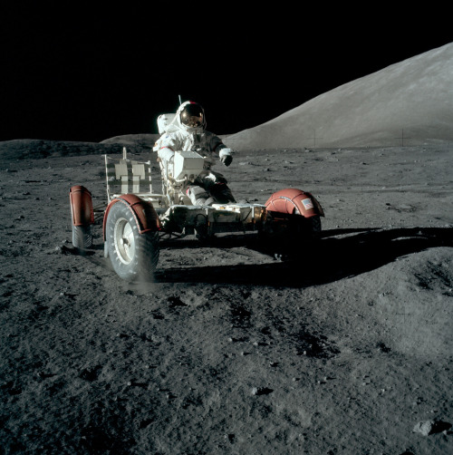 Gene Cernan test-driving Lunar Rover, December 11th, 1972, Apollo 17 Jack Schmitt