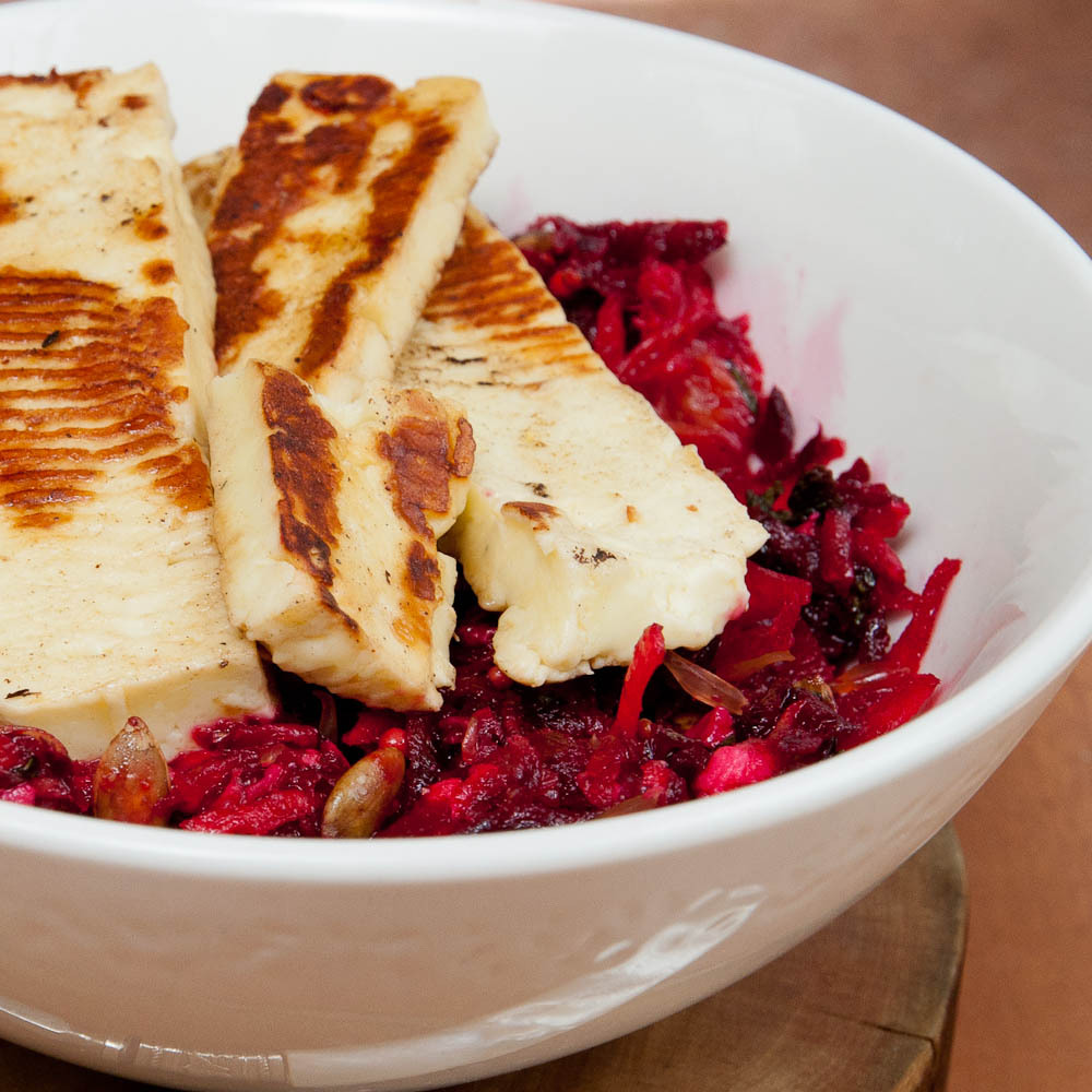 Raw Beet & Orange Salad with Haloumi