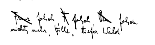 crashinglybeautiful:  Franz Kafka's signature in a letter to Milena Jesenská.  It reads: Franz wrong, F wrong, Yours wrong/ nothing more calm, deep forest.  Prague, July 29, 1920. Letters to Milena. Franz Kafka, trans. Philip Boehm. New York: Schocken Books, 1990. Kafka and Jesenská met twice: once in Vienna for four days, and in Gmünd for one. Kafka gave her his diaries at the end of his life. Thank you, bellswithin.