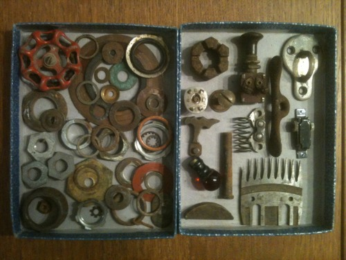 Washers and tidbits salvaged from a closed machine shop. Excited to sort through it all and get to work! Some neat pieces in there!