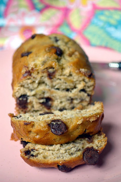 Super Soft Chocolate Chip Sour Cream Banana Bread click image for recipe