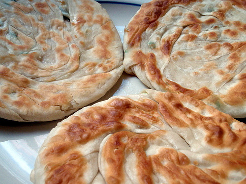 Scallion pancakes.  Recipe here.