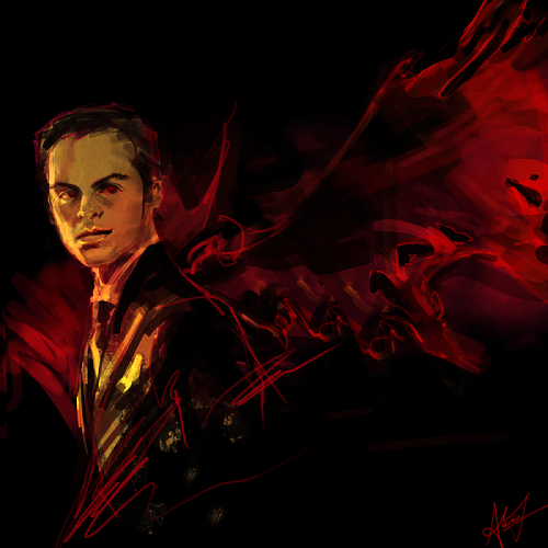 alicexz:  Art trade with feyuca. She asked for a winged!Moriarty. I'm obsessed with all winged!Sherlock stuff… again I'm going to HIGHLY RECOMMEND my favorite Sherlock fic, the absolutely beautiful, glorious A City on the Head of a Pin.