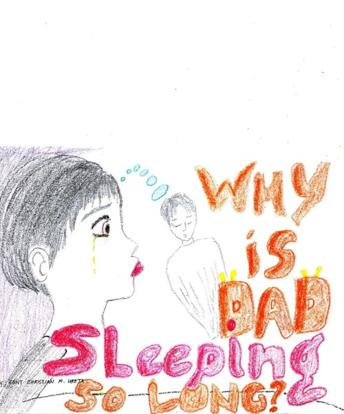 """Why is Dad sleeping so long?"" An artwork by Kent Christian Ureta, son of Ronald Ureta. Ronald Ureta was a radio broadcaster for DYKR in Aklan before he was gunned down on January 3, 2001. *** IN THEIR EYES: A photo series 
