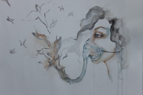 Respirator, is my first non-fashion painting in watercolor. It's not finished but I like the progress so far, will post again when completed.