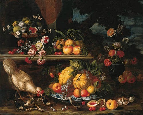 Nicola Malinconico Still Life in a Landscape Late 17th - early 18th century