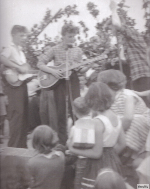 "thegilly:  July 6, 1957. The day it all started. ""At the Woolton village fete I met him. I was a fat schoolboy and, as he leaned an arm on my shoulder, I realised he was drunk. We were twelve then, but in spite of his sideboards, we went on to become teenage pals.""- Paul McCartney in his introduction to John's first book.   The 20th century will be never the same…"