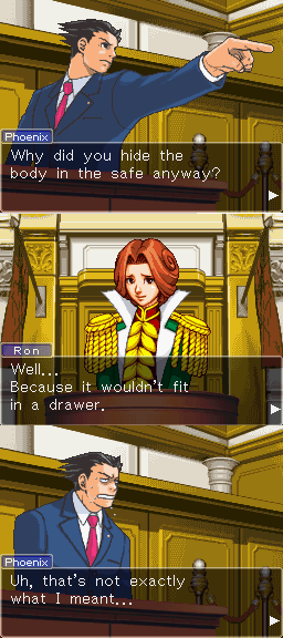 somnium-addiction:  I think Ron was my favorite character in Trails Trials and Tribulation.  i think that pheonix is not my favorite now that he makes that face