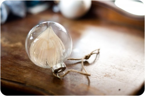 holly-go-brightly:  DIY feather ornament, love!: http://elisamclaughlin.com/design/2011/11/diy-peacock-feather-ornament/  Simple yet gorgeous.